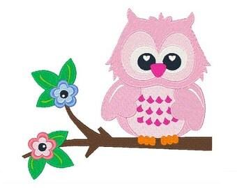 Owl Machine Embroidery Design 034715 Filled stitch 4X4 5X7 8X8 6X10 Instant download
