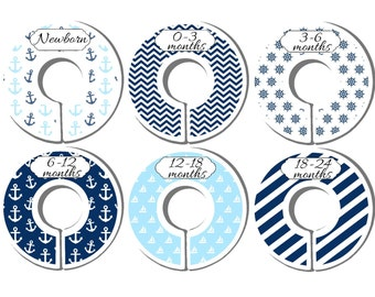 Closet Organizers, Premade Dividers, Baby Closet Dividers, Baby Shower Gift, Nursery Dividers, Closet Dividers,  Nautical, CD21