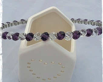 Purple and Clear Faceted Glass Beaded Hairband, Beaded Headband, Hair Wear, Budget Gifts