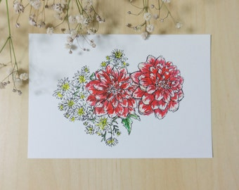 Red Dahlias – Ink & Watercolour Postcard Print + FREE shipping
