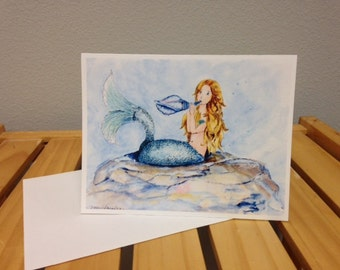Musical Mermaid, notecards, set of 8, printed from my original painting, greeting cards, thank you, all occasion cards