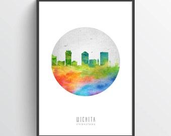 Wichita Skyline Poster, Wichita Cityscape, Wichita Art. Wichita Decor, Home Decor, Gift Idea, USKSWI20P