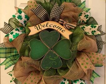 Last one left!! St. Patricks Day wreath, Four leaf clovers, burlap wreath, welcome wreath, lucky, shamrock wreath