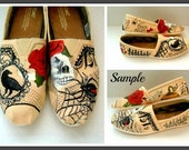 Bride's Wedding Love Story Shoes, Valentine's Day, Painted TOMS, steampunk, bridal shoes, goth Painted TOMS Wedding Bridal Party engaged