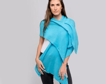 Bright Blue 100% Cashmere Wrap