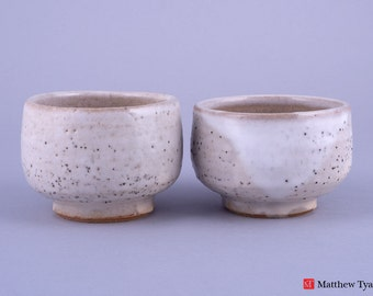 Pair of Unique and Tactile Snow Glazed Chawan Style Bowls: FREE UK Shipping