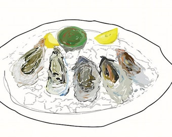 Oysters Fine Art Illustration Print