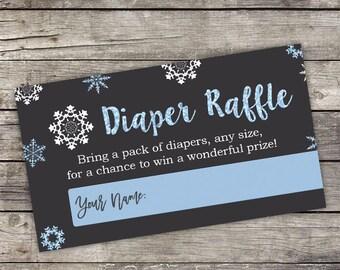Blue Snowflake Diaper Raffle Tickets - Instant Download - Chalkboard Snowflake Baby Shower Insert - Diaper Raffle Tickets - Baby-222