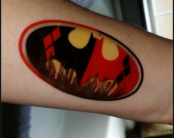 Batman Harley Quinn bat signal temporary tattoo fake tattoo