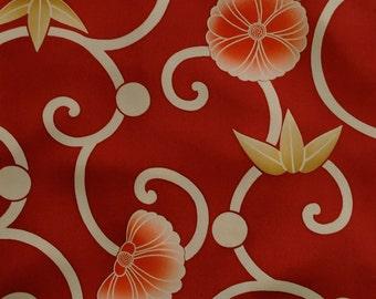 Vintage Japanese Silk Kimono Fabric Chrysanthemum