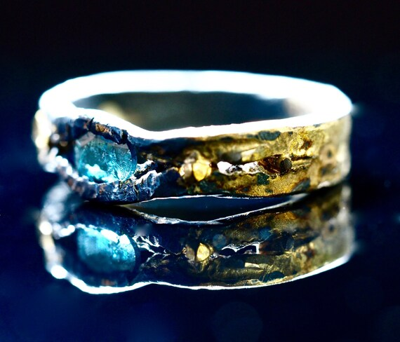 raw blue diamond engagement ring wedding ring by