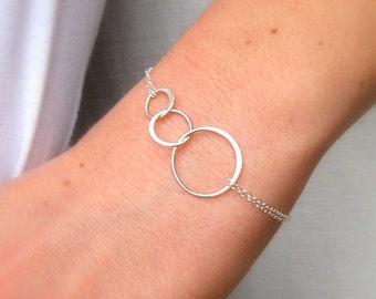 Triple hoop bracelet, anniversary gift, silver anniversary, silver bracelet, bracelet, anniversary gifts for women, gifts for women, women