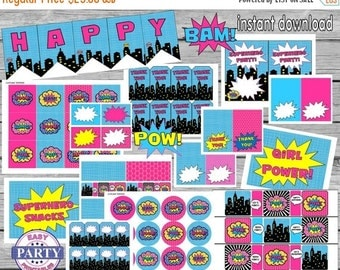 45% OFF SALE Instant Download Superhero Party Package, Save 80 Percent with this bundle, superhero girl party, pink and aqua, supergirl, top