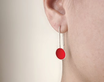 Sterling silver red earrings, dangle earrings, minimal earrings, simple earrings,cup earrings