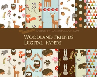Woodland Friends / Animals Digital Paper Pack/ Camping Invitation - Instant Download - DP118