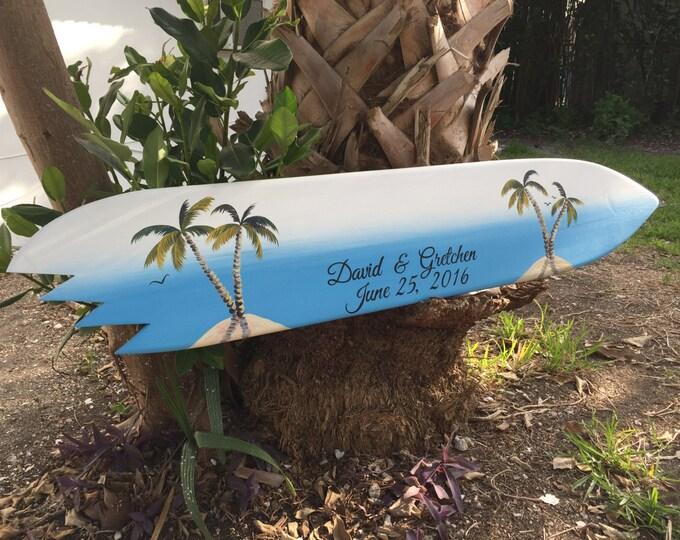 Wedding Guestbook Wood Sign, Guest Book Alternative, Shark Bite Surfboard Wedding Board, Palm Tree Beach Decor