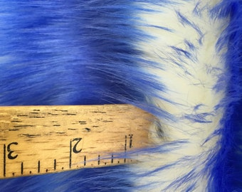 Super soft faux fur twotone shaggy fabric royal blue/offwhite. Sold by the yard
