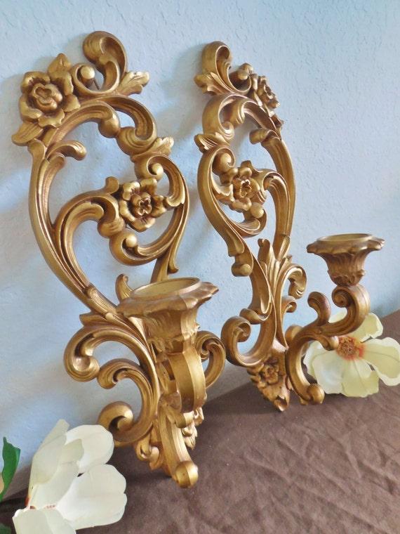Wall Sconce Plant Holder : Gold Flower Wall Sconce Candle Holder Set of 2 Vintage Homco