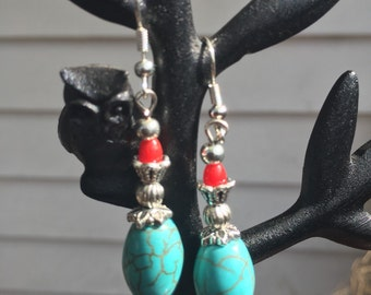 Turquoise and Red Coral Earrings