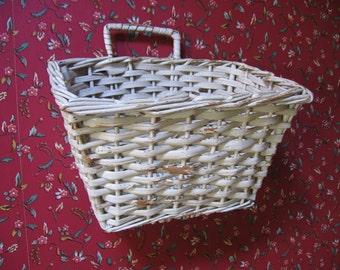 Vintage White Wicker Bicycle Basket - 1950's
