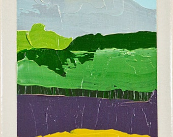 Abstract Landscape - Oil Painting on Tile 7990