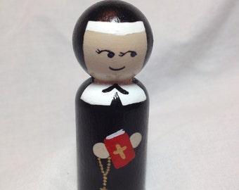 Saint Elizabeth Ann Seton Peg Doll, Custom Hand Painted