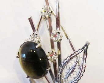 Vintage 1950s Silver Toned Rhinestone and Faux Tiger's Eye Pin