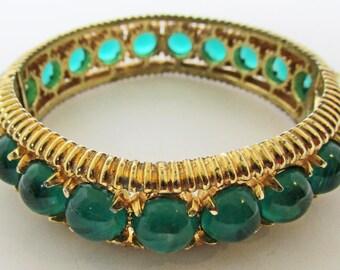Vintage - Emerald Green Rhinestone Bangle Bracelet - Signed - Marvella - Glamorous - Jewelry - 1950s