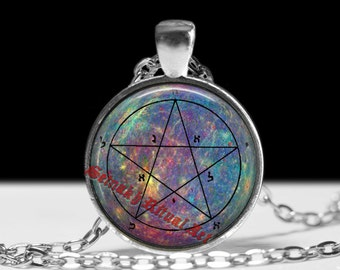 First pentacle of Mercury pendant, talisman conveys personal magnetism upon the owner, alchemy jewelry, King Solomon seals, magick #103