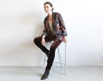 80s Fall Winter blazer / loose blazer jacket / damask style fabric / floral print blazer / green jacket / oversized jacket