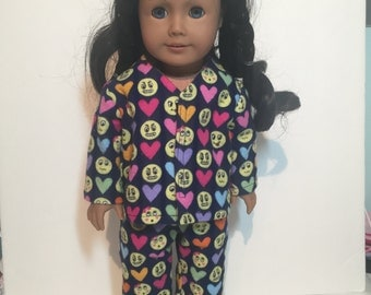 18 Inch Doll Pajamas- Navy Blue Emoji Flannel, American Made