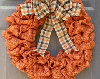Fall Burlap Wreath - Thanksgiving Door Wreath - Autumn Wreath