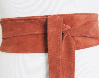 SALE! Tan Terracotta Suede Corset Obi Belt | Suede Belt | Waist tie belt | Plus Size Belts
