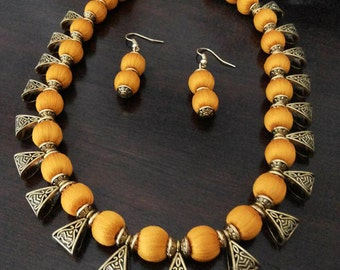 Mango Yellow Silk Thread Necklace and Earrings Indian Jewelry Set Handmade Jewellery Silk Thread Indian Jewellery Yellow