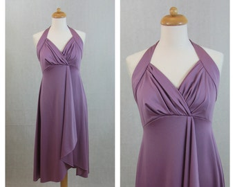 70s vintage dress. Bridesmaid dress. Halter neck mauve lavender dress. Empire waist. Sleeveless dress. Party dress. Size M.