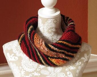 Pure Wool Neck Warmer, Red Black Orange Scarf, Warm Hand Knit
