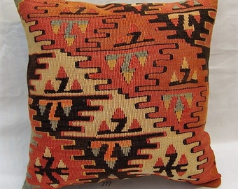 turkish kilim pillow,kilim pillow,home decor,40x40 cm,decorative pillow, 16x16 inch,vintage pillow,bohemian pillow,vintage kilim pillow 277