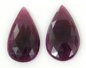 Ruby Rose Cut 18.15cts 100% Natural Ruby Gemstone Red Pear Rose Cut Slice 22*12.5mm Pair For Earring