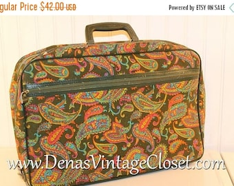 40% OFF Clearance Sale Vintage 60s Mod Bantam Luggage Suitcase Over Night Bag Travel Case Green Pink Paisley Print