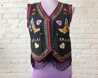 90s vintage embroidered vest black w funky southwestern design womens size S/M