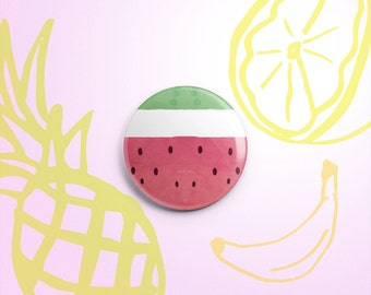 Watermelon slice one-inch pinback button badge - small pin