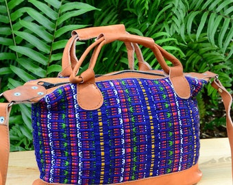 Guatemalan Fair Trade Royal Blue Fabric and Leather Trimmed Small Should Purse with Double Handles