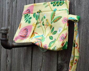 Clutch Purse - Clutch Bag - Small Purse - Pleated Clutch - Wristlet - Yellow Flowers & Birds - Gift under 40 - Gift Idea for Women