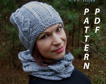 Knitting hat pattern, knitting cowl pattern, hat and scarf set pattern, knitted scarf pattern, pdf hat pattern, pdf scarf, slouchy hat pdf