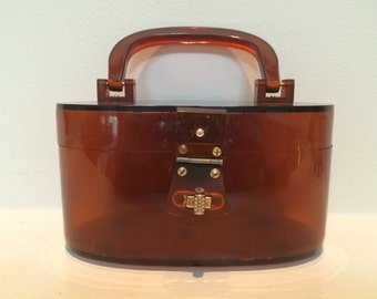 Lucite Amber Top Handle Purse