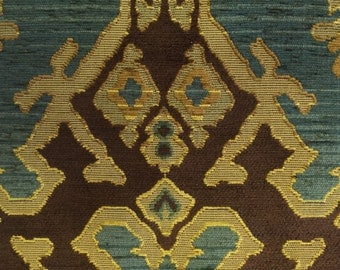 Tribal Ikat Fabric- Blue, Green, and Brown - Upholstery Fabric By The Yard