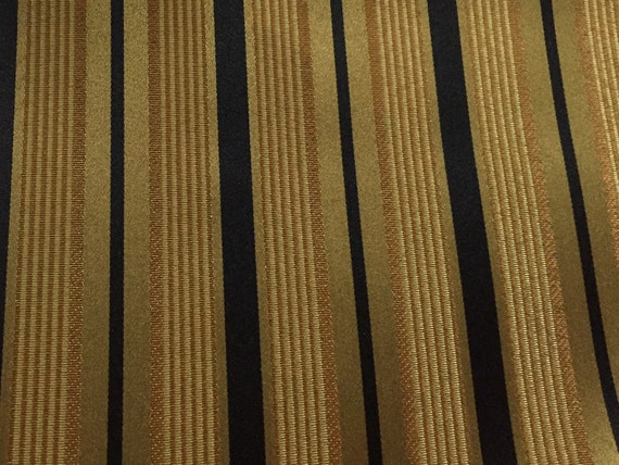 Stripe Copper Gold And Black Upholstery Fabric By The Yard