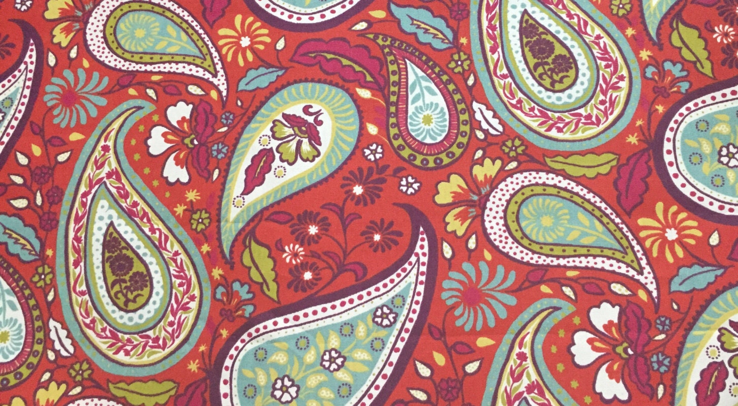 Red Vibrant Paisley Fabric Paisley Fabric Upholstery