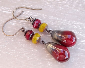Ceramic Earrings, Bronze Droplet Earrings, Czech Glass Earrings, Dark Red Earrings, Butterscotch Earrings, Faceted Rondelle Earrings.