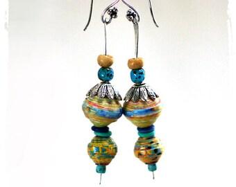 Colorful ethnic earrings, Festival earrings, Boho chic earrings for her, Gypsy earrings, Cruise wear jewelry, Long dangle earrings for women